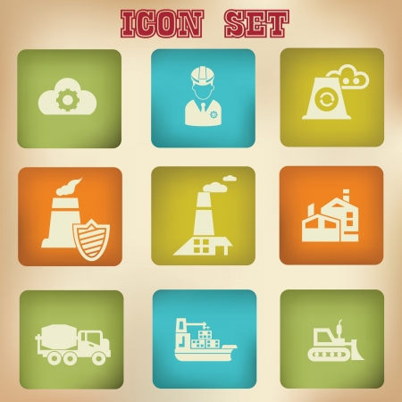 Pollution vintage icons,vector Stock Vector - 20568437