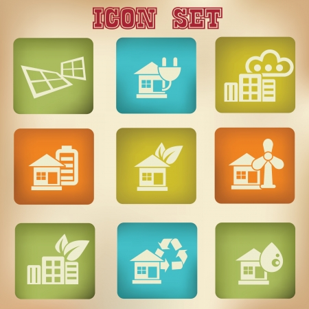 Ecology house vintage icons,vector Vector