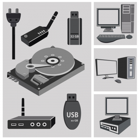 hard stuff: Hardware Computer icon set,vector