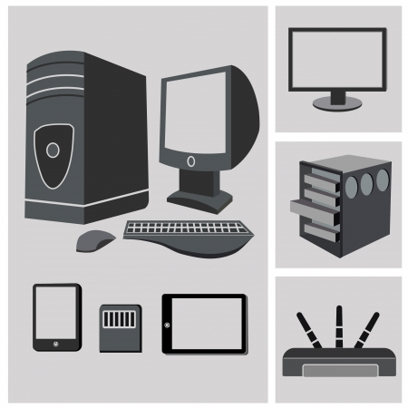 Computer PC Hardware icon set,vector Vector