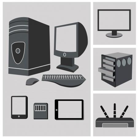 hardware icon: Computer PC Hardware icon set,vector Illustration