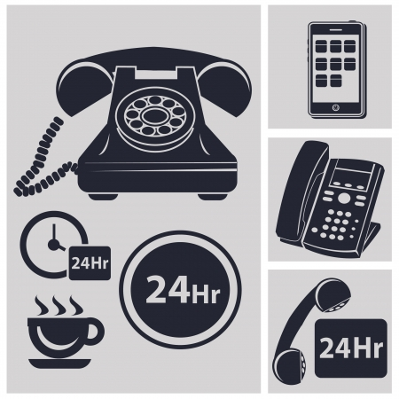 cordless phone: Telephone collection and 24 hr service icons,vector