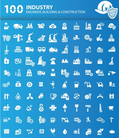 building site: 100 Industrial,Building and construction icons,version Blue background,vector Illustration