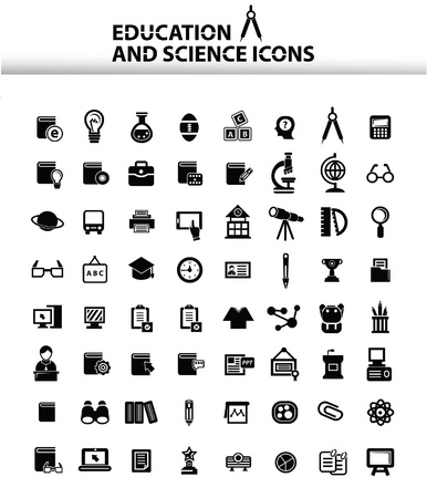 Education icons,White version,vector Illustration