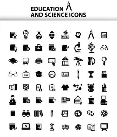 Onderwijs pictogrammen, Wit-versie, vector