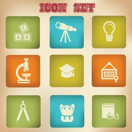 t square: Education vintage icons,vector