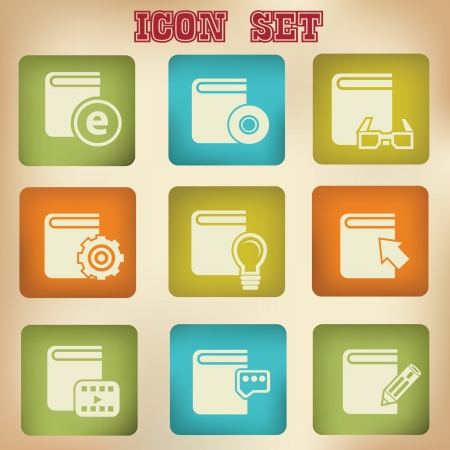 Library books vintage icons,vector Stock Vector - 20568436