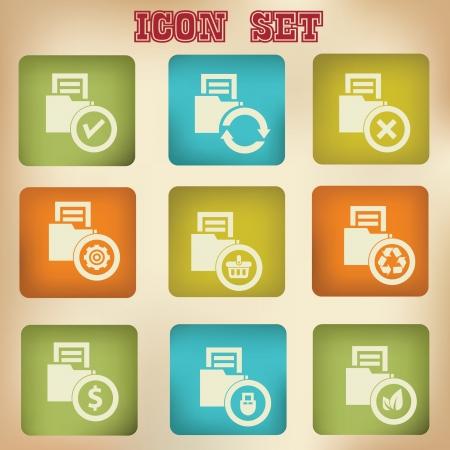 Folder vintage icons,vector Stock Vector - 20568454