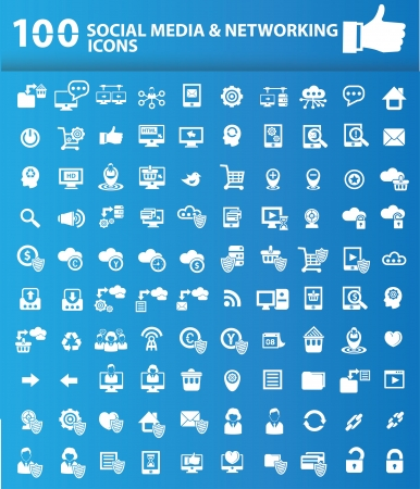 100 Web icon set on blue background,vector Stock Vector - 20645535