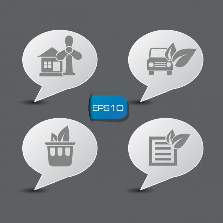 Natural or Ecology icons on speech bubbles Vector