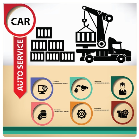 heavy vehicle: Logistics on vintage background Illustration