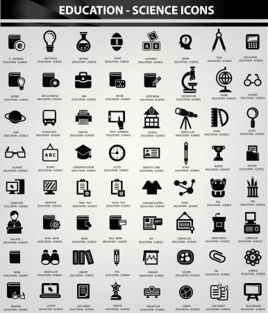 Education and Science icon set,Black version Vector
