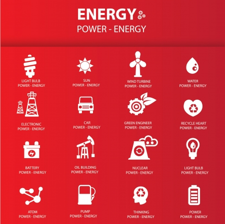 gases: Energy icon set on red background