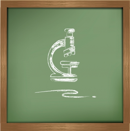Microscope drawing on blackboard background Stock Vector - 20550945