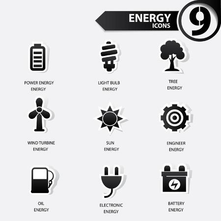 antipollution: Ecolog�a y energ�a iconos, versi�n negro