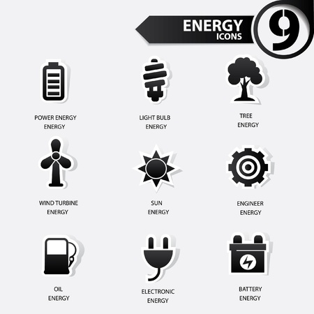 Ecology and energy icons,black version Vector