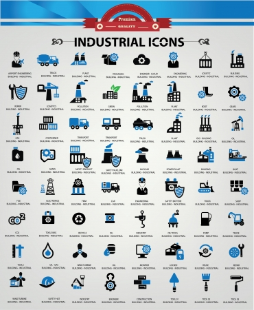 bedrijfshal: Industriële en Building iconen, blauwe versie Stock Illustratie