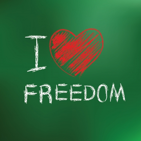 I love freedom drawing on blackboard background Vector