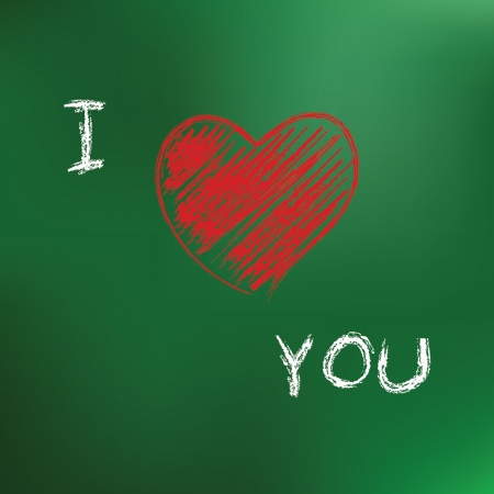 I love you drawing on blackboard background Vector