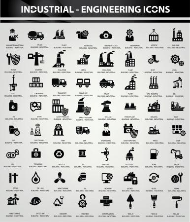 refinaria: Ícones industriais e de construção, versão preto