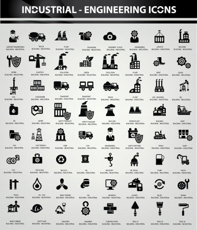 산업 및 건물 아이콘, 검은 색 버전 일러스트