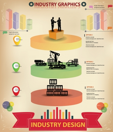 Logistic infographics design,vintage style Vector