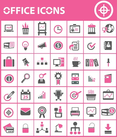 Office icons,Pink version Vector