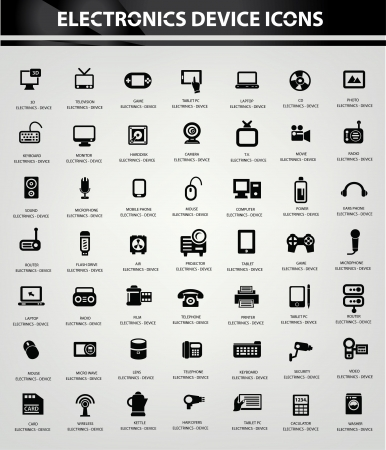 black appliances: Electronics icon set,vector