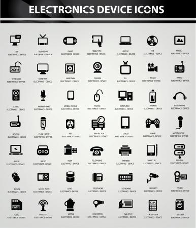 black appliances: Elettronica icon set, vettore