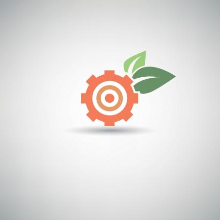 business gears: Ecology Gear symbol Illustration