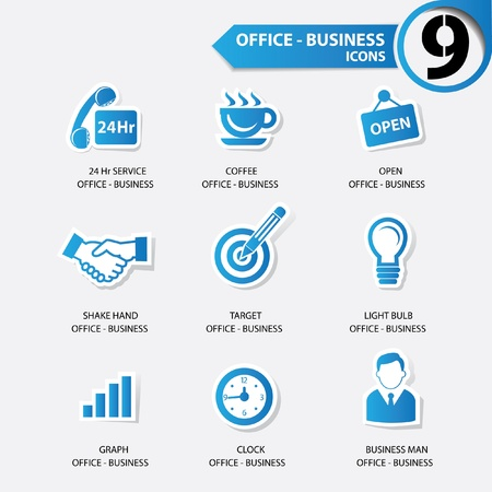 blue bulb: Office and business concept icons,blue version
