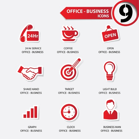 24 hr: Office icons,Red version Illustration