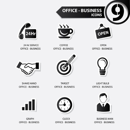 Office icons,Black version Vector