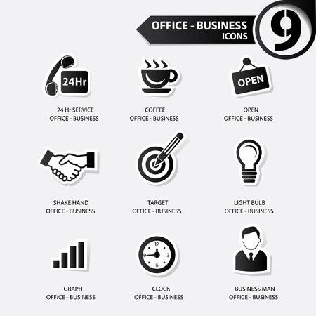 24 hr: Office icons,Black version Illustration