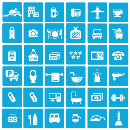design bad: Hotel icons,Blue background version
