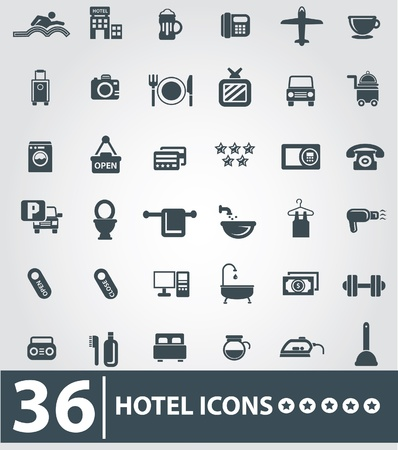 hotel service: Hotel icons,Gray background version