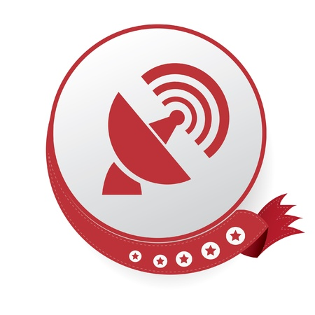 sattelite: Satellite dish symbol,Red button,on White background
