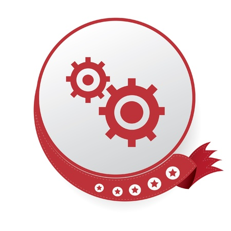 Gears symbol,Red button,on White background Stock Vector - 20565007