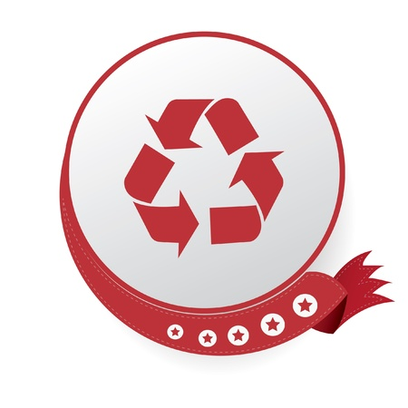 Recycle symbol,Red button,on White background Vector