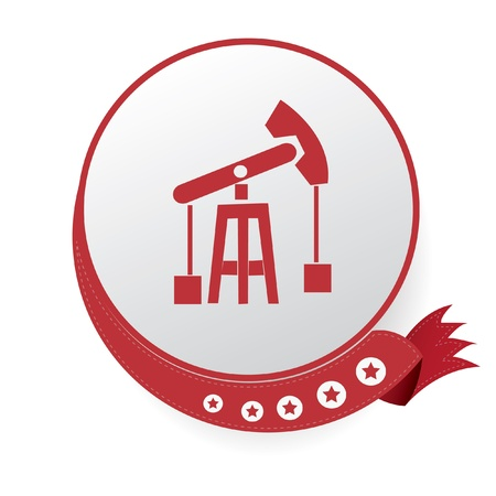 Construction symbol,Red button,on White background Vector