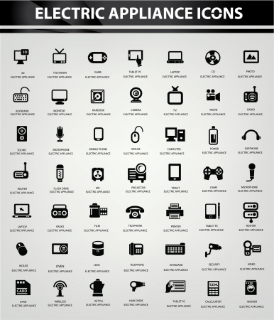Electronics icon set,Black version Vector
