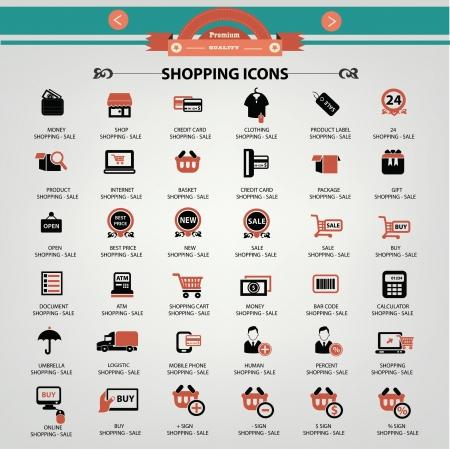 clothing shop: Iconos de compras, vector Vectores