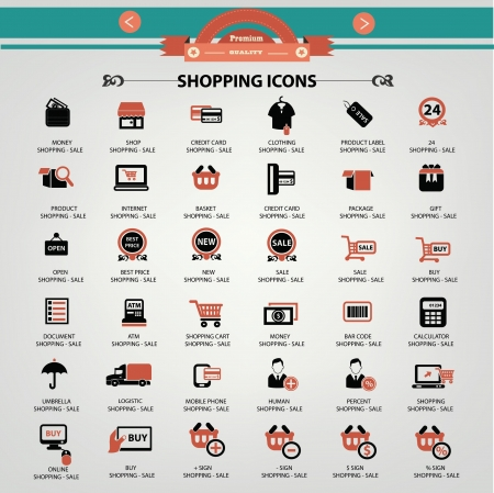 online shopping: Shopping icons,vector