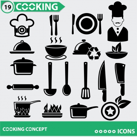boiling: Kitchen and Food icons Illustration