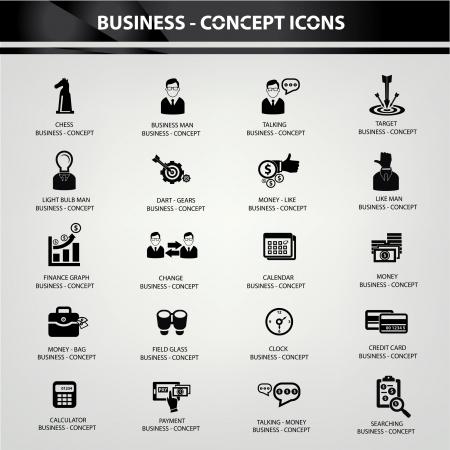 Business concept  Business management icons,Black version Vector