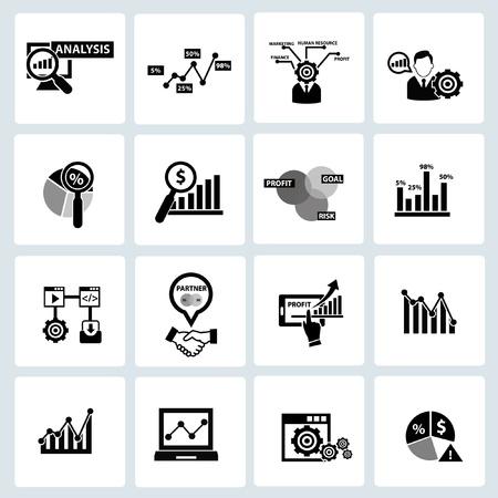 白い背景の上のビジネス分析概念アイコン