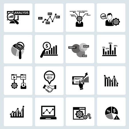 financial analysis: Business Analysis concept icons,on white background Illustration