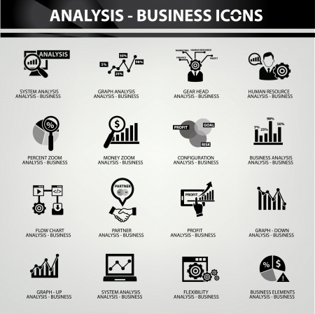 manager: Business Analysis concept icons,on white background Illustration