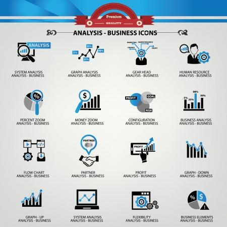 risico analyse: Business Analysis begrip iconen, blauwe versie