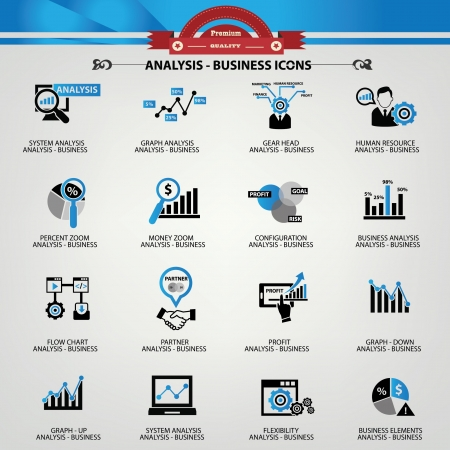 finance: Business Analysis concept icons,Blue version